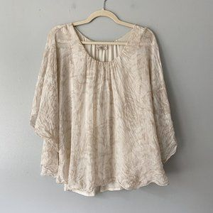 Marina Gigli Watercolor Silk Flowy Floral Blouse